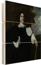 Jacob Trip - Schilderij van Bartholomeus van der Helst Vurenhout met planken 30x40 cm - klein - Foto print op Hout (Wanddecoratie)