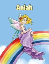 Aniah: Personalized Composition Notebook - Wide Ruled (Lined) Journal. Rainbow Fairy Cartoon Cover. For Grade Students, Eleme
