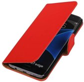Samsung Galaxy S7 Edge Hoesje Effen Bookstyle Rood