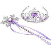 Prinsessen lila paars accessoireset kroon, staf met lint