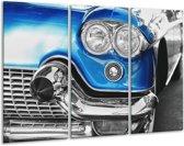 Glas schilderij Oldtimer, Auto | Grijs, Blauw, Zilver | 120x80cm 3Luik | Foto print op Glas |  F007221