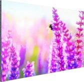 Bloemen met bij Aluminium 90x60 cm - Foto print op Aluminium (metaal wanddecoratie)