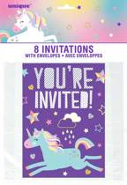 Uitnodigingen You're invited unicorn 8 stuks
