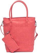 Zebra Trends Natural Bag Kartel met Rits en Schouderband Rood