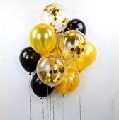 15 Confetti Ballonnen Zwart-Goud  |  Ideaal voor baby shower of verjaardag
