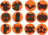 Foam stempels, d: 7,5 cm, dikte 2,5 cm, Halloween, 12stuks
