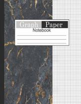 Graph Paper Notebook: 1/4 Composition Notebook Graph Paper Squared Graphing Paper Gold Black Marble Paint Decor Cover