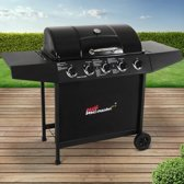 Trend24 - BBQ gas grill met 5 grote branders in zwart + hoes + gasslang + regulator + thermostaat