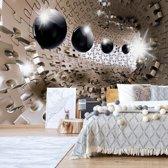 Fotobehang 3D Puzzle Tunnel | V4 - 254cm x 184cm | 130gr/m2 Vlies