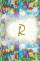 R: Monogram Initial Notebook for Women and Girls, Blank, 6'' x 9'', 110 pages