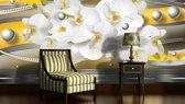 Fotobehang Papier Bloemen, Orchideeën   Zilver   368x254cm