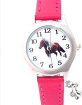 Paarden Horloge- Midden Roze- Met paarden bedeltje