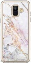 Samsung Galaxy A6 2018 siliconen hoesje - Parelmoer marmer