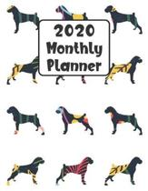 2020 Monthly Planner: Boxer Dog - 12 Month Planner Calendar Organizer Agenda with Habit Tracker, Notes, Address, Password, & Dot Grid Pages