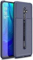 Teleplus Oppo Reno 2 Case Negro Carbon Silicone Navy Blue + Nano Screen Protector hoesje