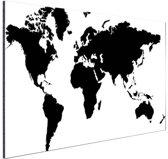 Wereldkaart zwart-wit Aluminium 60x40 cm