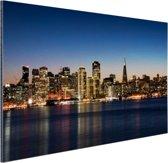De skyline van San Fransisco bij nacht Aluminium 90x60 cm - Foto print op Aluminium (metaal wanddecoratie)