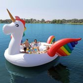 Opblaas Eiland - Loungebed 485 cm Eenhoorn Unicorn - 6 persoons XXL
