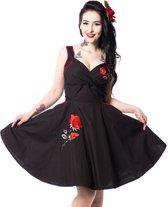 Marianne jurk met geborduurde rozen zwart - Vintage/rockabilly - L - Vixxsin