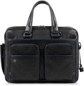 Piquadro Blue Square S Matte Expandable Computer 15 Briefcase Black