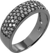 943282964-58 - Zilveren Dames Ring - Halfrond Rijen Zirkonia - Zwart