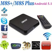 Super snelle M8S Plus, Android 5.1 TV BOX Kodi 16.1 model 2017 inclusief Rii i8 mini draadloos toetsenbord (Gratis: TV, Series, Films, Voetbal)