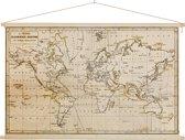 Historische wereldkaart op schoolplaat - Vintage - wand decoratie 60x40 cm platte latten - Textielposter