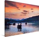 Het meer van Hangzhou Canvas 140x90 cm - Foto print op Canvas schilderij (Wanddecoratie woonkamer / slaapkamer)
