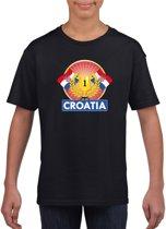 Zwart Kroatisch kampioen t-shirt kinderen - Kroatie supporter shirt jongens en meisjes M (134-140)