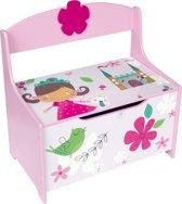 Playwood - Houten gekleurde speelgoedkist Prinses - Opbergkist - Speelgoedbank