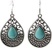 Fako Bijoux® - Oorbellen - Tibetaanse Stijl - Turquoise - Druppel