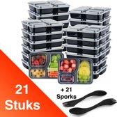 Facile® Meal Prep Bakjes – 21 Pack + 21 Sporks - Drie compartimenten – 3 Vakken – Vershoud Lunchbox – Mealpreppen met deksel – Mealprep containers – BPA vrij – 1000 ml – 1L - Levenslang garantie