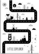Kinderkamer poster Roads Little Explorer DesignClaud - Zwart wit - A3 poster