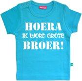 T-shirt korte mouw | Hoera ik word grote broer! | aqua blauw | maat 110/116