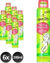Schwarzkopf got2b Fresh&Fabulous Extra Fresh Droogshampoo 200 ml - 6 stuks - Voordeelverpakking