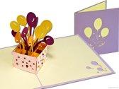Popcards popupkaarten - Box met vrolijke ballonnen verjaardag verjaardagskaart pop-up kaart