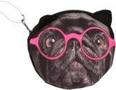 Portemonnee zwarte mopshond roze bril 10 x 11 cm