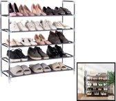 Schoenenrek voor 25 paar schoenen - 5 etages - Zwart - Schoenen opbergsysteem voor schoenen opbergen - Staand opbergrek / Schoenenkast - Rek van metaal & kunststof - Zwart - Decopatent®