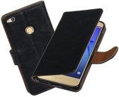 BestCases.nl Zwart Pull-Up PU booktype wallet cover hoesje voor Huawei P8 Lite 2017 / P9 Lite 2017