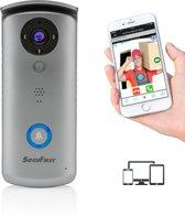 Professionele Wifi Video Deurbel met Camera van SecuFirst met PIR Bewegingssensor - Geluid - Intercom - Nachtzicht - Micro Sd-Slot - Geen Verborgen Kosten - Ring van Veiligheid - Grijs - Inclusief Micro SD Card