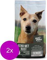 Pets Place Plus Hond Senior Eend - Hondenvoer - 2 x 3 kg