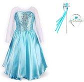 Frozen Elsa blauwe verkleedjurk maat 116/122 (130) + staf en kroon