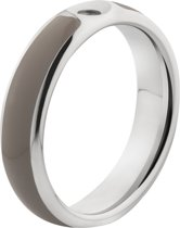 Melano Twisted Tracy resin ring - dames - stainless steel + taupe resin - 5mm - maat 48