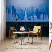 Fotobehang New York City Skyline Blue And Black | VEXXL - 312cm x 219cm | 130gr/m2 Vlies