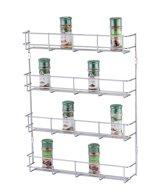 Ophangbaar Kruidenrek RVS – Specerijen Opbergen – Kruidenpotjes – Spice Rack - 4 laags – Geschikt voor 32 Kruidenpotjes – 49.5 x 41 x 6.3 cm