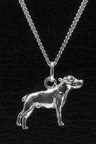 Zilveren Amerikaanse bulldog ongecoupeerd ketting hanger - groot