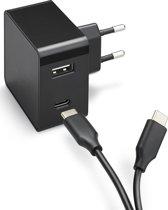 Azuri PD and QC home charger 1xUSB-C port, 1xUSB A port USB-C cable- zwart - 30W