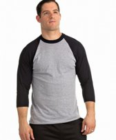 Soffe Classic Heathered Baseball T-Shirt - Oxford Grey/Black - Small