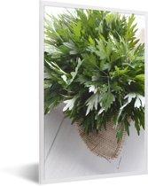 Foto in lijst - De bladeren van alsem die samen op een stoffen zak fotolijst wit 40x60 cm - Poster in lijst (Wanddecoratie woonkamer / slaapkamer)
