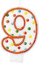 Amscan Verjaardagskaars 8 - Polka Dots 7,6 Cm Oranje/wit